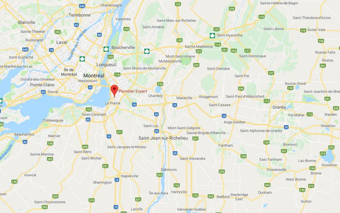 Plombier Expert | Carte de la Rive-Sud, Montréal et les environs