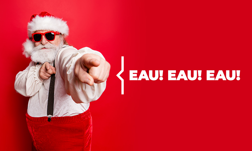 Plombier Expert   Père Noël cool avec lunettes de soleil sur fond rouge